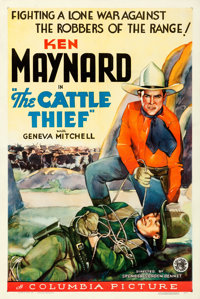 "The Cattle Thief (Columbia, 1936). One Sheet (27"" X 41"")"