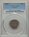 Bust Dimes, 1820 10C Small 0 VF30 PCGS. PCGS Population: (15/78). . From TheE.B. Strickland Collection. ...