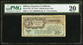Military Payment Certificates:Series 461, Series 461 25¢ Replacement PMG Very Fine 20.. ...