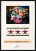 Music Memorabilia:Memorabilia, Ringo Starr Limited Edition Framed Personal Drumsticks, Piece of All Starr Band Drum Kit and Color Photograph Signed on the Ma...