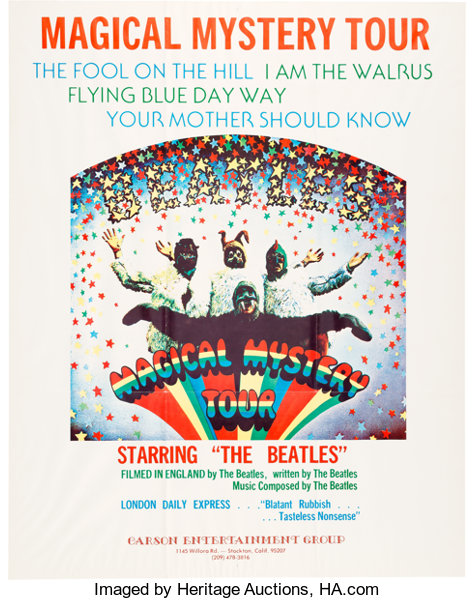 Beatles Magical Mystery Tour Movie Poster (New Line, Mid