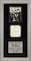 Music Memorabilia:Autographs and Signed Items, Beatles Ink Signatures Obtained in Wales on July 19, 1963, in Framed Display. ...