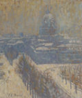 Fine Art - Painting, American, Theodore Earl Butler (American, 1861-1936). Les Invalides,Paris, 1904. Oil on board. 15 x 12-1/2 inches (38.1 x 31.8cm...