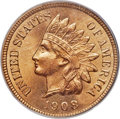 Indian Cents, 1908-S 1C MS66 Red PCGS. CAC....