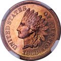 Proof Indian Cents, 1868 1C PR65 Red Cameo NGC....