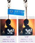 Music Memorabilia:Memorabilia, Prince's Personal Backstage Passes for Two Shows at Club 3121 / Empire Ballroom in Las Vegas (2006).... (Total: 2 Items)