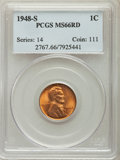 Lincoln Cents: , 1948-S 1C MS66 Red PCGS. PCGS Population: (2660/283). NGC Census: (2442/587). CDN: $20 Whsle. Bid for problem-free NGC/PCGS...