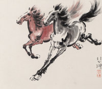 Attributed to Xu Beihong (Chinese, 1895-1953) Animal Folio Album (twelve works) Ink and color on pap