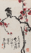 Asian:Chinese, Chen Qiuyan (Chinese, 20th Century). Bird on Prunus Branch.Ink and color on paper. 26 inches high x 15-1/2 inches wide ...