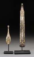 Asian:Chinese, Two Chinese Gold-Inlaid Bronze Garment Hooks, Warring StatesPeriod, circa 475-221 BC. 10 inches long (25.4 cm) (larger). 4-...(Total: 2 Items)