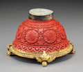 Asian:Chinese, A Chinese Cinnabar, Jade, and Gilt Bronze Inkwell, incorporatingelements from the Qing Dynasty. 4 inches high x 6-1/8 inche...