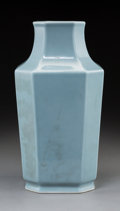 Asian:Chinese, A Chinese Sky Blue Glazed Porcelain Octagonal Vase, late QingDynasty. 13-1/8 inches high (33.3 cm). ...