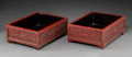 Asian:Chinese, A Pair of Chinese Cinnabar Lacquer Scholar's Trays, Qing Dynasty.3-5/8 h x 9-7/8 w x 7-1/2 d inches (9.2 x 25.1 x 19.1 cm)...(Total: 2 Items)