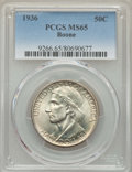 Commemorative Silver, 1936 50C Boone MS65 PCGS. PCGS Population: (829/477). NGC Census: (623/313). CDN: $160 Whsle. Bid for problem-free NGC/PCGS...