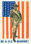 "Movie Posters:War, World War I Propaganda by James Montgomery Flagg (c. 1918).Recruitment Poster (27"" X 38"") ""Be a U.S. Marine."". ..."