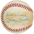 "Autographs:Baseballs, Mickey Mantle ""Best Wishes"" Single Signed Baseball.. ..."