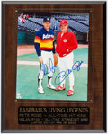 "Autographs:Photos, ""Baseball's Living Legends"" Multi-Signed Plaque with Ryan and Rose.. ..."
