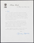 Autographs:Letters, Mickey Mantle Signed Letter.. ...