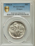 Commemorative Silver, 1938-D 50C Oregon MS66 PCGS Secure. PCGS Population: (744/325). NGCCensus: (576/273). CDN: $275 Whsle. Bid for problem-fre...