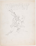 Wally Wood Warfront Cover Concept Sketch Original Art (c. 1967) Comic Art