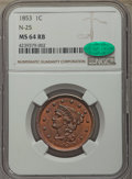 Large Cents, 1853 1C N-25, R.1, MS64 Red and Brown NGC. CAC. NGC Census: (6/7). PCGS Population: (3/5). MS64. Mintage 6,641,131....