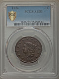 Large Cents: , 1824 1C AU53 PCGS Secure. PCGS Population: (12/53 and 0/0+). NGC Census: (1/24 and 0/0+). Mintage 1,262,000. ...
