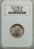 Standing Liberty Quarters, 1917 25C Type One MS66 NGC. Ex: Starr. NGC Census: (30/5). PCGS Population: (48/1). Mintage 8,740,000. . Ex: Floyd T. St...
