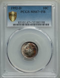 Roosevelt Dimes, 1952-D 10C MS67+ Full Bands PCGS Secure. PCGS Population: (89/1 and 17/0+). NGC Census: (108/1 and 1/0+). Mintage 122,100,...