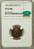Proof Lincoln Cents, 1936 1C Type Two--Brilliant Finish PR63 Red and Brown NGC. CAC. NGC Census: (50/64). PCGS Population: (76/145). CDN: $400 W...