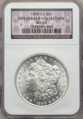Morgan Dollars, 1890-CC $1 MS62 NGC. EX: Fitzgerald Collection. NGC Census: (1488/2684). PCGS Population: (2652/6570). CDN: $525 Whsle. Bid...