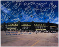 Autographs:Photos, Green Bay Packers Multi-Signed Lambeau Field Oversized Photograph.(28 Signatures).. ...