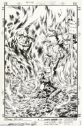 Original Comic Art:Covers, Keith Giffen and Brian Garvey - New Gods #9 Cover Original Art(Marvel, 1995). Darkseid and Highfather loom over the smoking...