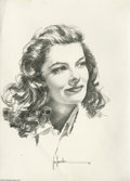 Original Comic Art:Splash Pages, Jose Gonzales - Katherine Hepburn Portrait Original Art (1980).Jose Gonzales has rendered a highly detailed portrait of mov...