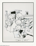 "Original Comic Art:Sketches, Daan Jippes - ""Ducks in a Row"" Cover Original Art (undated). Daan Jippes' clever gag shows off the teamwork of Huey, Dewey, ..."