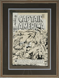 Jack Kirby and Syd Shores - Captain America #102 Cover with Letter from Jack Kirby Original Art (Marvel, 1968). Captain...