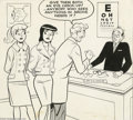 Original Comic Art:Covers, Bob White (attributed) - Betty and Veronica Cover Original Art(Archie, undated). This lighthearted Archie cover spotlights ...