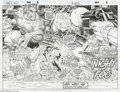 Original Comic Art:Splash Pages, John Romita Jr. and Dan Green - Uncanny X-Men #307 Double PageSplash Original Art (Marvel, 1993). The Beast looks particula...