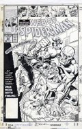 Original Comic Art:Covers, Alex Saviuk - Web of Spider-Man #64 Cover Original Art (Marvel,1990). It was all-out action, Marvel-style, as Spider-Man fa...