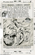 "Original Comic Art:Covers, John Severin - Monsters on the Prowl #16 Cover Original Art(Marvel, 1972). King Kull returns to battle the ""Serpent-God of ..."