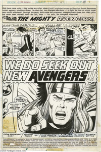 George Tuska and Vince Colletta - Avengers #137 Splash Page 1 Original Art (Marvel, 1975). The mighty Thor struck his be...