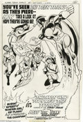 Original Comic Art:Splash Pages, George Tuska and Rich Buckler - New Teen Titans #1 Preview AdSplash Page Original Art (DC, 1976). From page 22 of Super-T...