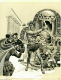 "Original Comic Art:Covers, Wally Wood - ""The Return of Conan"" Hardback Book Cover Original Art (Gnome Press, 1957). The Barbarian King has pretty much ..."