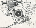 Original Comic Art:Sketches, Rick Griffin - Flying Eyeball Sketch Original Art (undated). The late artist Rick Griffin was well known for his work in the...