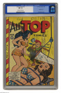 """Golden Age (1938-1955):Adventure, All Top Comics #10 (Fox Features Syndicate, 1948) CGC NM- 9.2. It's a bondage cover, a """"headlight"""" cover, and oh yeah, an ac..."""