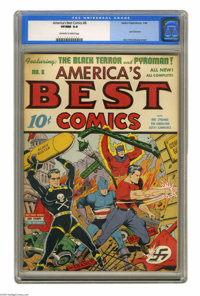 America's Best Comics #8 (Nedor Publications, 1944) CGC VF/NM 9.0 Off-white to white pages. Alex Schomburg's cover was m...