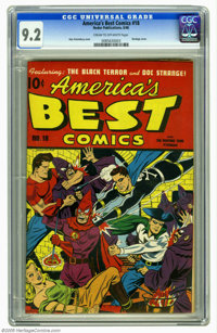 America's Best Comics #18 (Nedor Publications, 1946) CGC NM- 9.2 Cream to off-white pages. It's Doc Strange, the Black T...