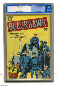 Blackhawk #18 Mile High pedigree (Quality, 1948) CGC NM 9.4 Off-white pages. Reed Crandall's cover showing the Blackhawk...