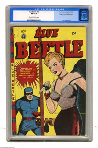 Blue Beetle #50 Mile High pedigree (Fox Features Syndicate, 1947) CGC NM 9.4 Off-white to white pages. Jack Kamen, one o...