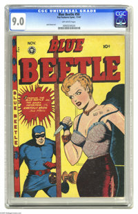 """Blue Beetle #50 (Fox Features Syndicate, 1947) CGC VF/NM 9.0 Off-white pages. This issue's story is called """"the Hai..."""