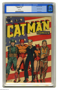 Catman Comics #27 (Continental, 1945) CGC VF/NM 9.0 White pages. An L. B. Cole flag cover (with the Army, Navy, and Air...